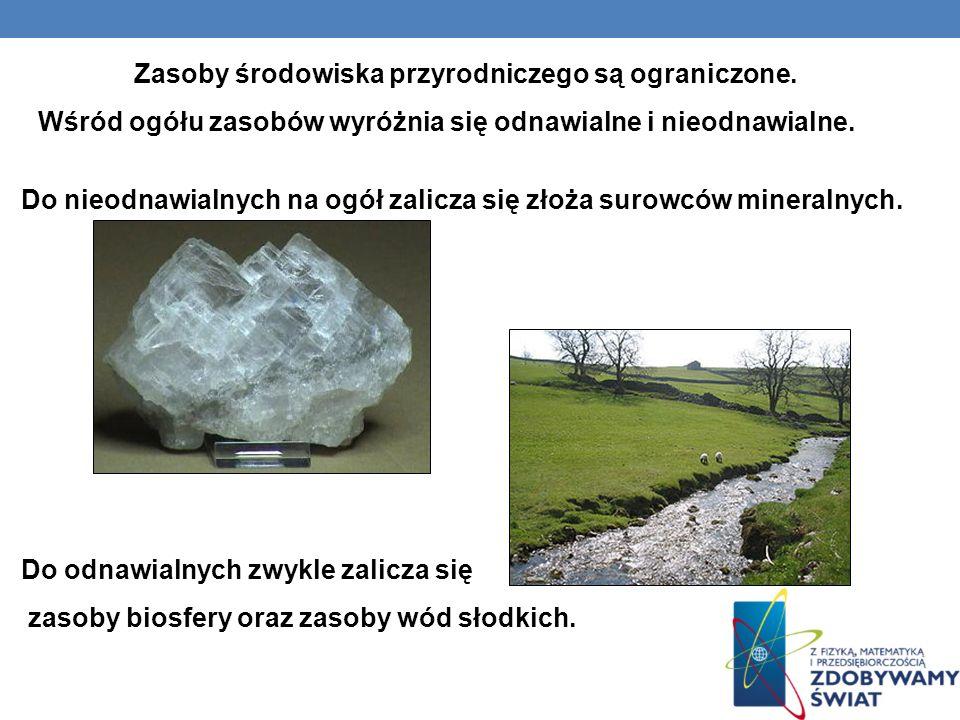 Do nieodnawialnych na ogół zalicza się złoża surowców mineralnych. Do odnawialnych zwykle zalicza się zasoby biosfery oraz zasoby wód słodkich. Zasoby