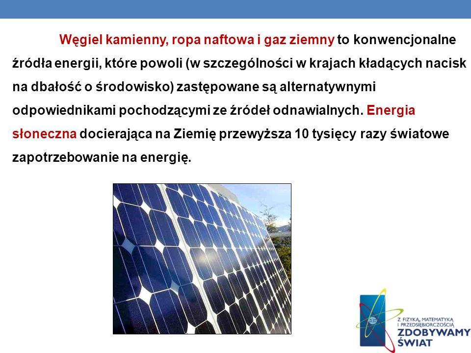 Węgiel kamienny, ropa naftowa i gaz ziemny to konwencjonalne źródła energii, które powoli (w szczególności w krajach kładących nacisk na dbałość o śro