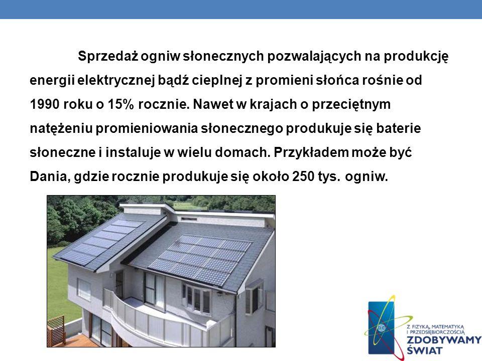 Sprzedaż ogniw słonecznych pozwalających na produkcję energii elektrycznej bądź cieplnej z promieni słońca rośnie od 1990 roku o 15% rocznie. Nawet w