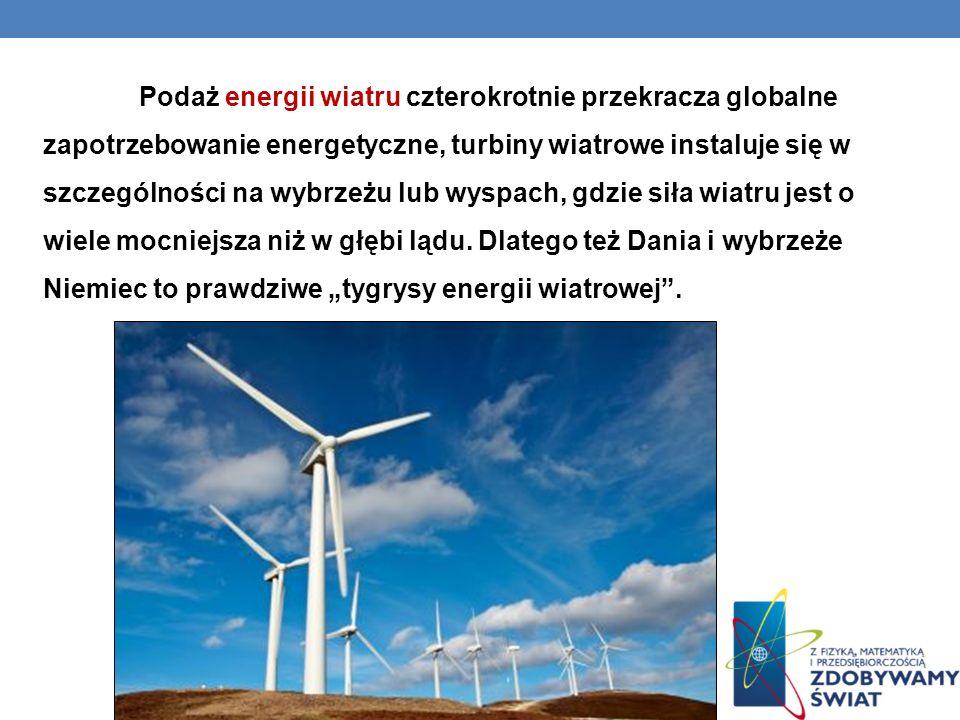 Podaż energii wiatru czterokrotnie przekracza globalne zapotrzebowanie energetyczne, turbiny wiatrowe instaluje się w szczególności na wybrzeżu lub wy