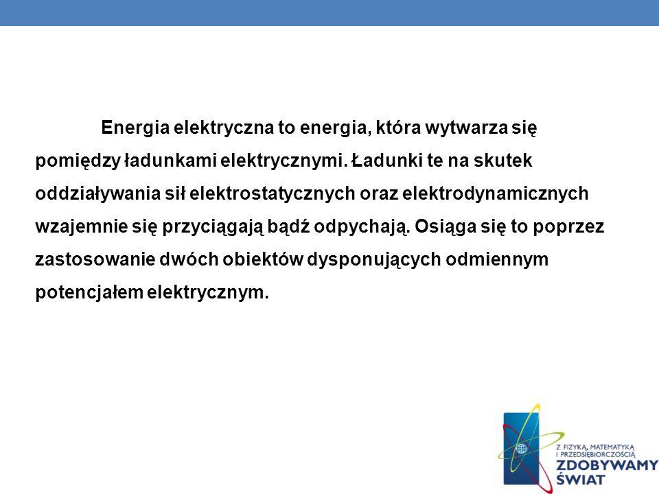 Energia elektryczna to energia, która wytwarza się pomiędzy ładunkami elektrycznymi. Ładunki te na skutek oddziaływania sił elektrostatycznych oraz el