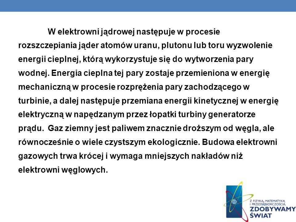 W elektrowni jądrowej następuje w procesie rozszczepiania jąder atomów uranu, plutonu lub toru wyzwolenie energii cieplnej, którą wykorzystuje się do