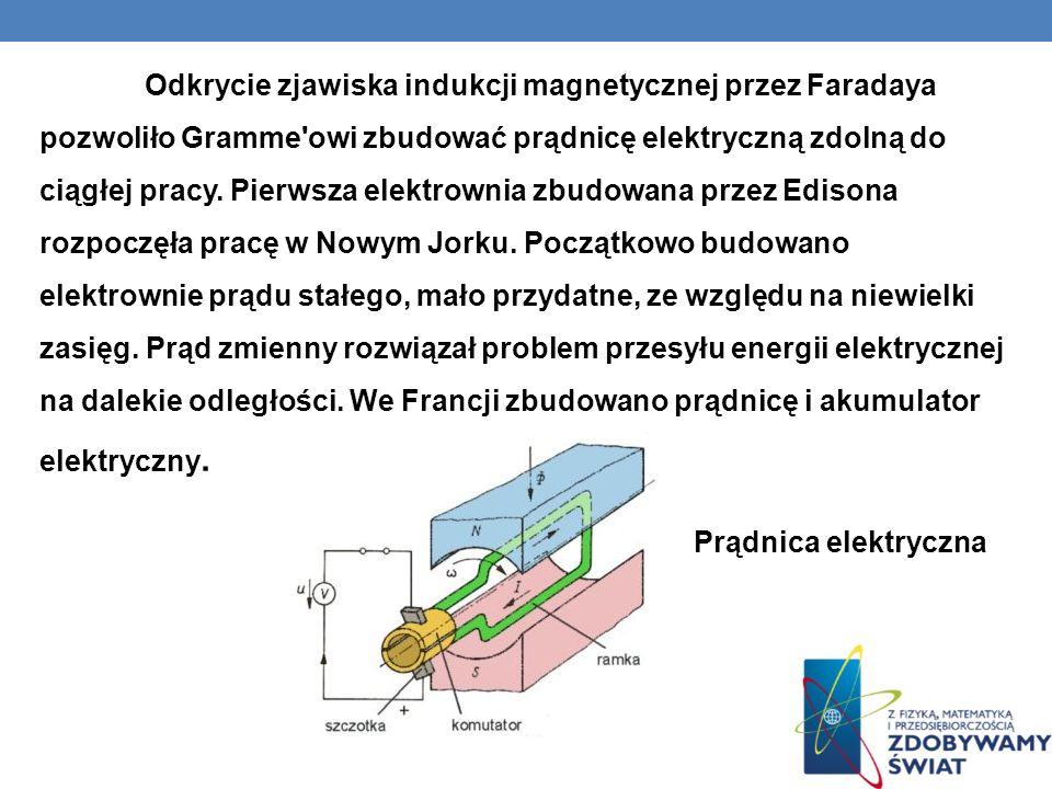 Odkrycie zjawiska indukcji magnetycznej przez Faradaya pozwoliło Gramme'owi zbudować prądnicę elektryczną zdolną do ciągłej pracy. Pierwsza elektrowni