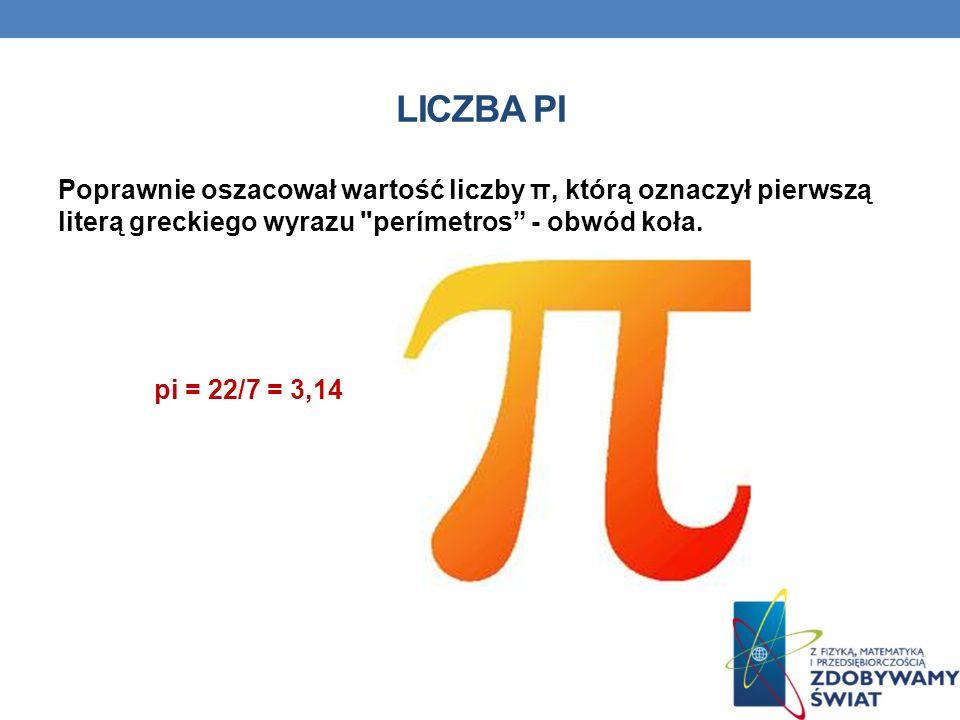 LICZBA PI Poprawnie oszacował wartość liczby π, którą oznaczył pierwszą literą greckiego wyrazu