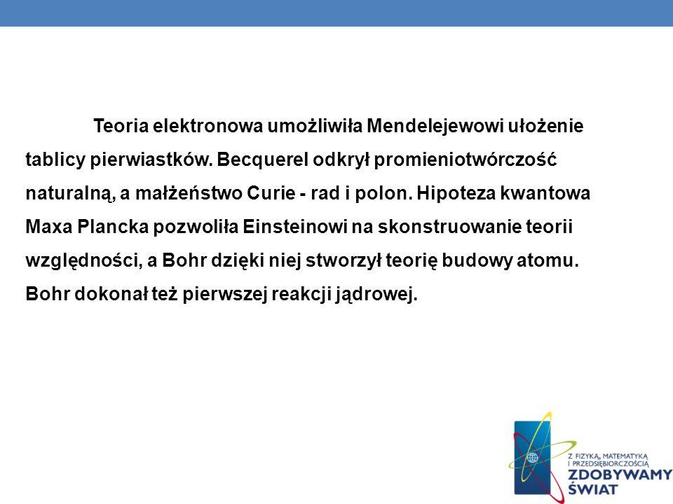 Teoria elektronowa umożliwiła Mendelejewowi ułożenie tablicy pierwiastków. Becquerel odkrył promieniotwórczość naturalną, a małżeństwo Curie - rad i p
