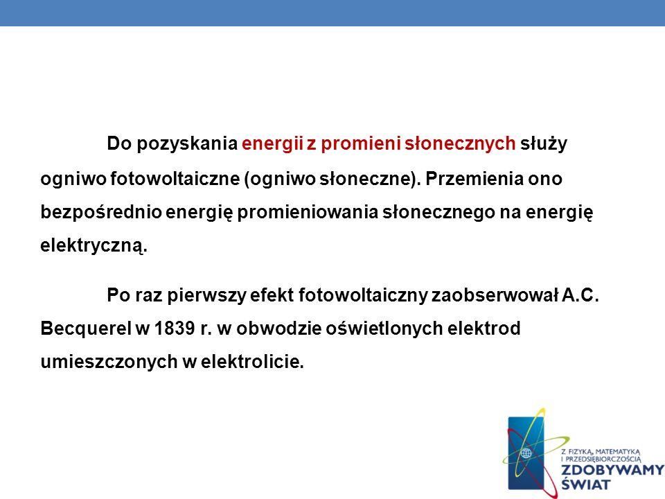 Do pozyskania energii z promieni słonecznych służy ogniwo fotowoltaiczne (ogniwo słoneczne). Przemienia ono bezpośrednio energię promieniowania słonec