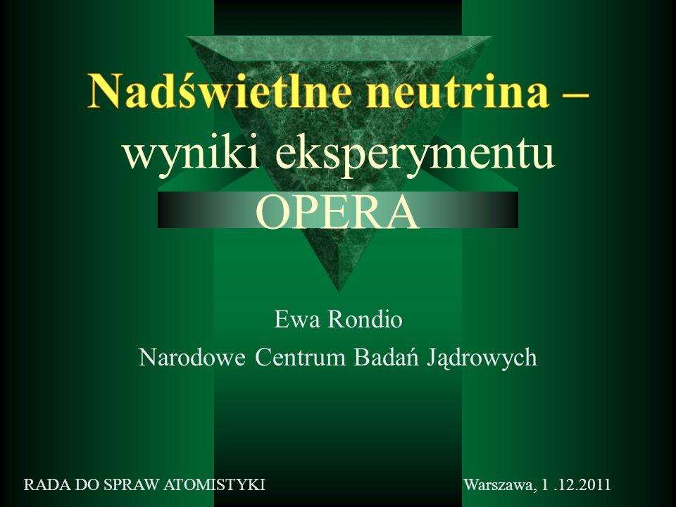 Ewa Rondio Narodowe Centrum Badań Jądrowych Warszawa, 1.12.2011RADA DO SPRAW ATOMISTYKI