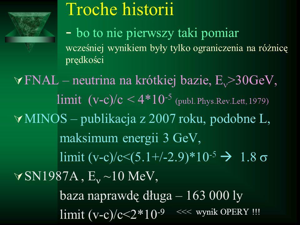 Troche historii - bo to nie pierwszy taki pomiar wcześniej wynikiem były tylko ograniczenia na różnicę prędkości FNAL – neutrina na krótkiej bazie, E