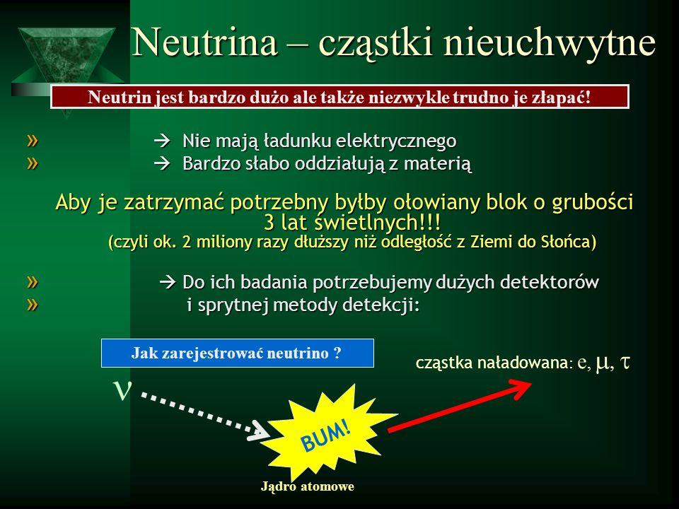 Neutrina – cząstki nieuchwytne Neutrin jest bardzo dużo ale także niezwykle trudno je złapać! » Nie mają ładunku elektrycznego » Bardzo słabo oddziału
