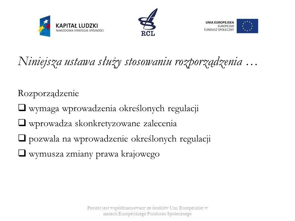 Niniejsza ustawa służy stosowaniu rozporządzenia … Rozporządzenie wymaga wprowadzenia określonych regulacji wprowadza skonkretyzowane zalecenia pozwala na wprowadzenie określonych regulacji wymusza zmiany prawa krajowego Projekt jest współfinansowany ze środków Unii Europejskiej w ramach Europejskiego Funduszu Społecznego
