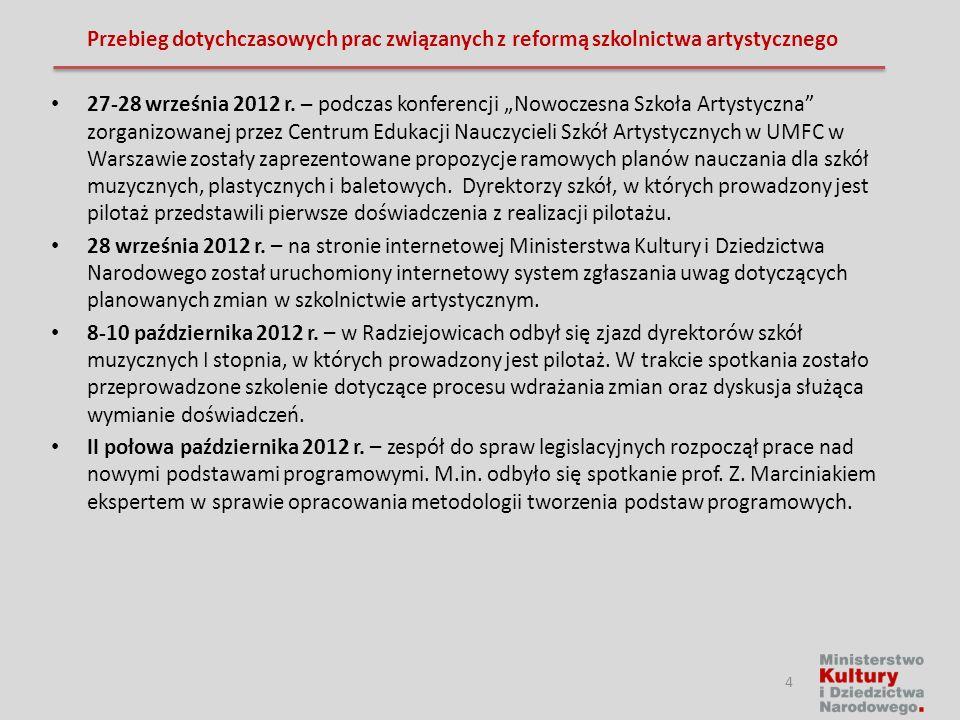 Przebieg dotychczasowych prac związanych z reformą szkolnictwa artystycznego 27-28 września 2012 r. – podczas konferencji Nowoczesna Szkoła Artystyczn