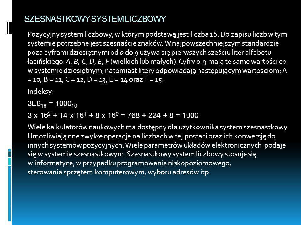 SZESNASTKOWY SYSTEM LICZBOWY Pozycyjny system liczbowy, w którym podstawą jest liczba 16. Do zapisu liczb w tym systemie potrzebne jest szesnaście zna