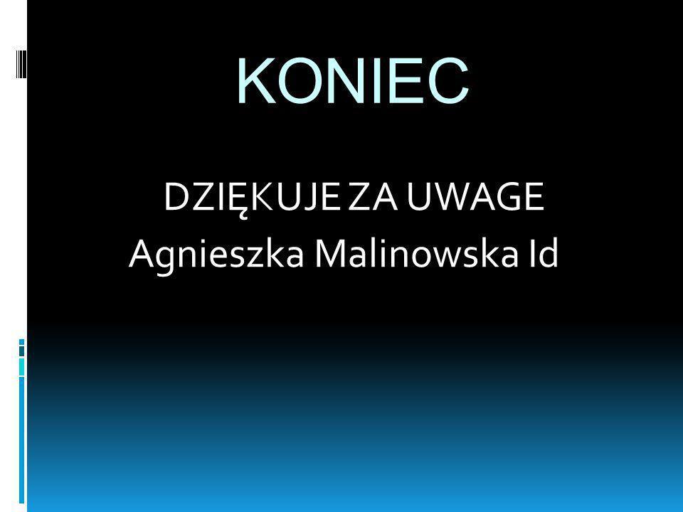 KONIEC DZIĘKUJE ZA UWAGE Agnieszka Malinowska Id