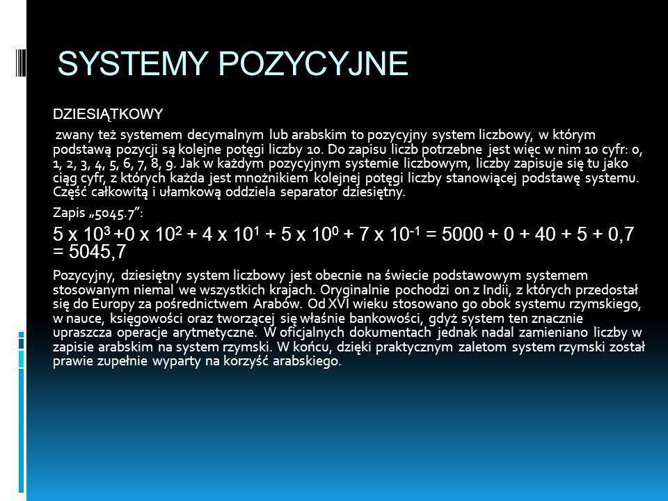 SYSTEMY POZYCYJNE DZIESIĄTKOWY zwany też systemem decymalnym lub arabskim to pozycyjny system liczbowy, w którym podstawą pozycji są kolejne potęgi li