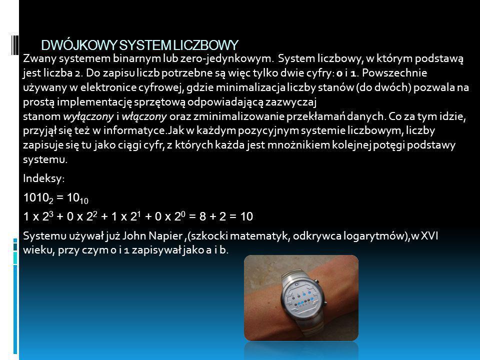 DWÓJKOWY SYSTEM LICZBOWY Zwany systemem binarnym lub zero-jedynkowym. System liczbowy, w którym podstawą jest liczba 2. Do zapisu liczb potrzebne są w