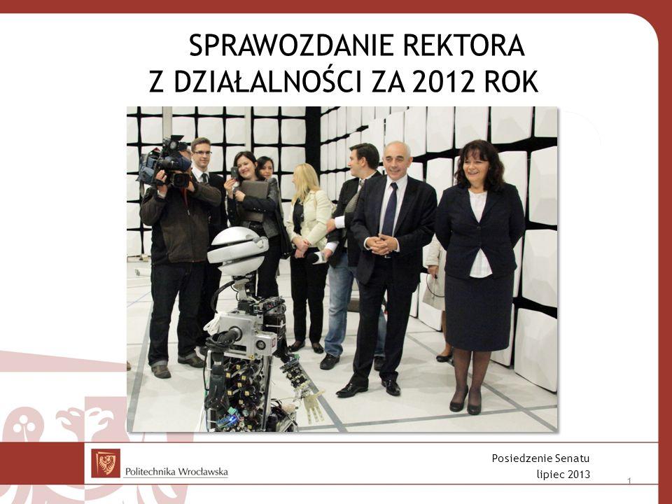 SPRAWOZDANIE REKTORA Z DZIAŁALNOŚCI ZA 2012 ROK Posiedzenie Senatu lipiec 2013 1