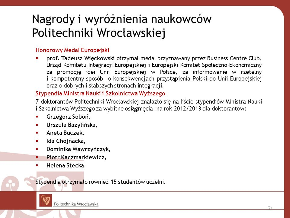 Honorowy Medal Europejski prof.