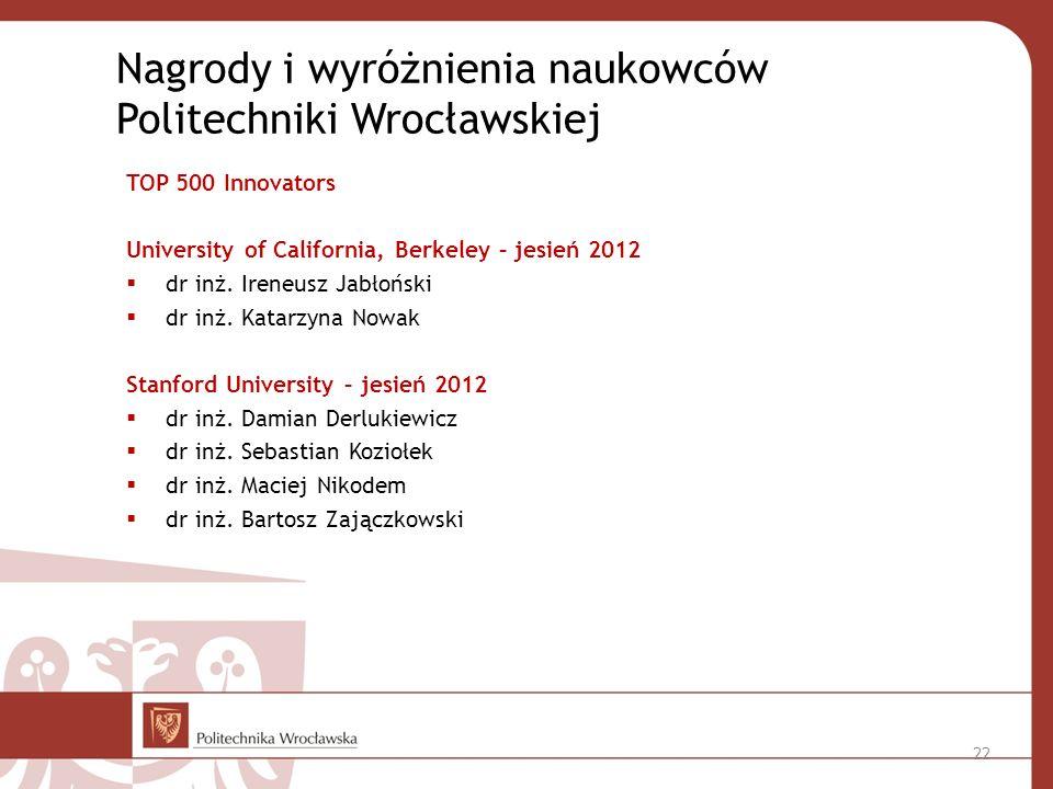 TOP 500 Innovators University of California, Berkeley – jesień 2012 dr inż.