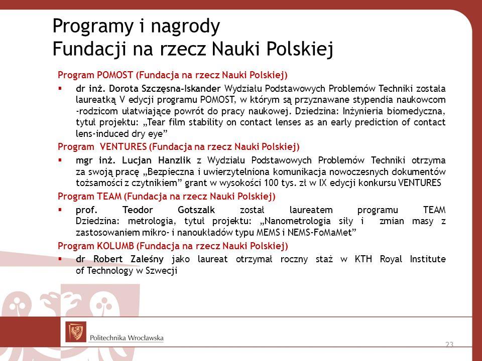 Program POMOST (Fundacja na rzecz Nauki Polskiej) dr inż.