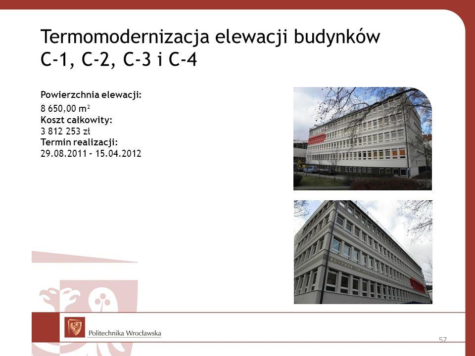 Termomodernizacja elewacji budynków C-1, C-2, C-3 i C-4 Powierzchnia elewacji: 8 650,00 m² Koszt całkowity: 3 812 253 zł Termin realizacji: 29.08.2011 – 15.04.2012 57
