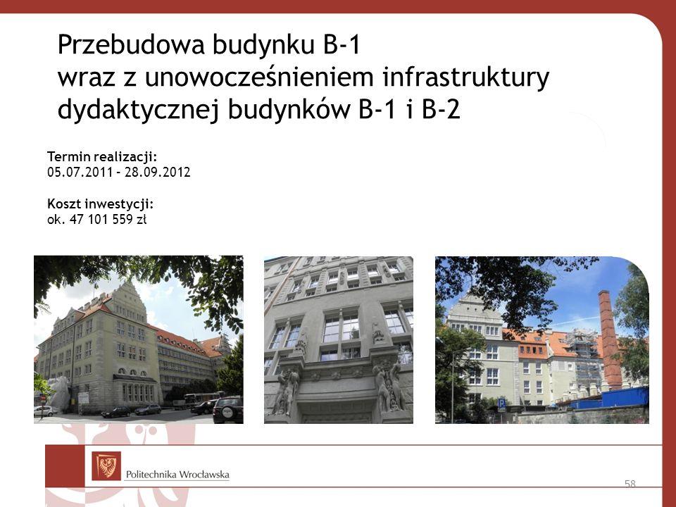 Przebudowa budynku B-1 wraz z unowocześnieniem infrastruktury dydaktycznej budynków B-1 i B-2 Termin realizacji: 05.07.2011 – 28.09.2012 Koszt inwestycji: ok.