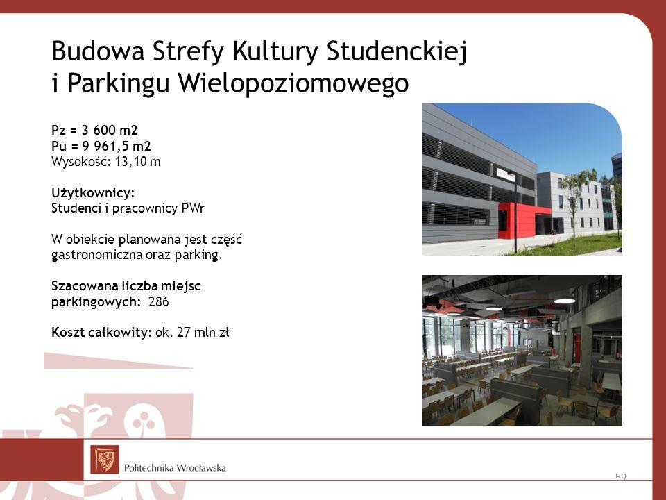 Budowa Strefy Kultury Studenckiej i Parkingu Wielopoziomowego Pz = 3 600 m2 Pu = 9 961,5 m2 Wysokość: 13,10 m Użytkownicy: Studenci i pracownicy PWr W obiekcie planowana jest część gastronomiczna oraz parking.