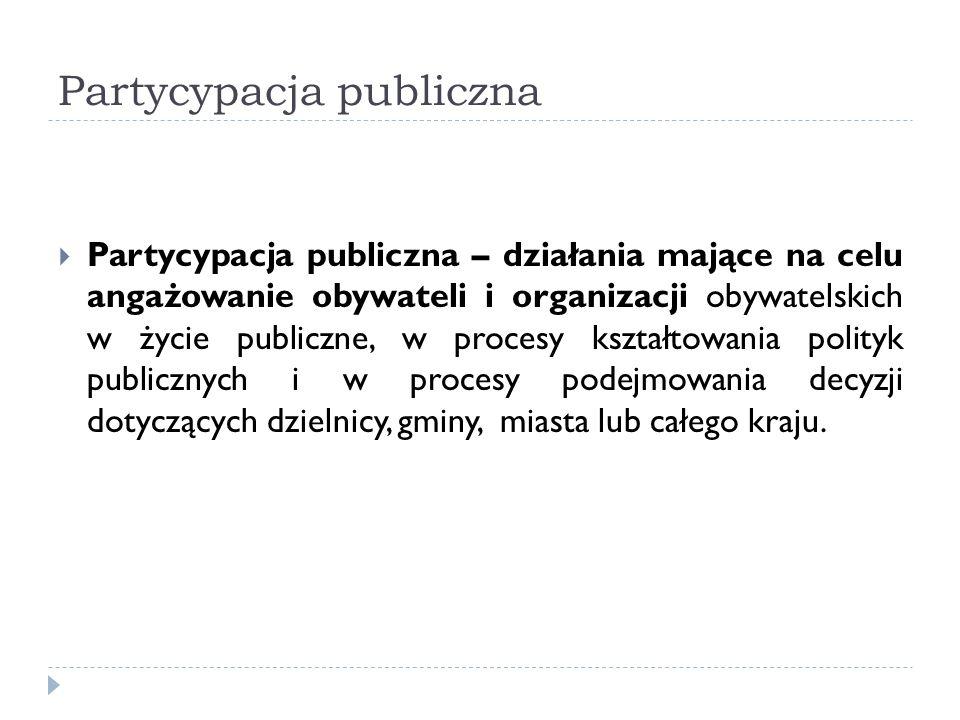 Partycypacja publiczna Partycypacja publiczna – działania mające na celu angażowanie obywateli i organizacji obywatelskich w życie publiczne, w proces