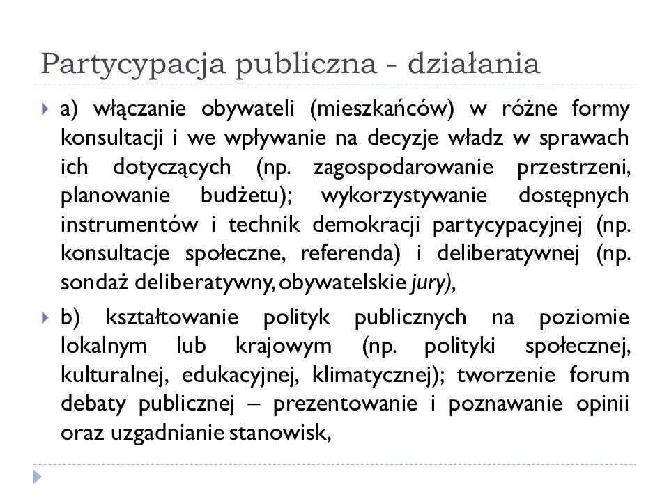 Partycypacja publiczna - działania a) włączanie obywateli (mieszkańców) w różne formy konsultacji i we wpływanie na decyzje władz w sprawach ich dotyc