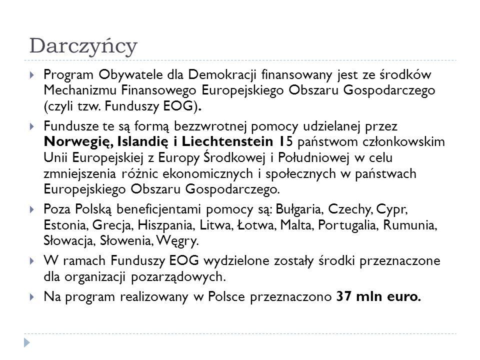 Darczyńcy Program Obywatele dla Demokracji finansowany jest ze środków Mechanizmu Finansowego Europejskiego Obszaru Gospodarczego (czyli tzw. Funduszy