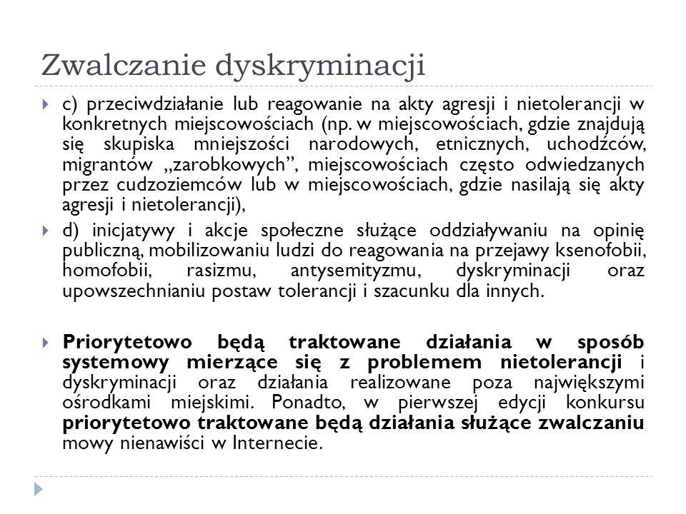 Zwalczanie dyskryminacji c) przeciwdziałanie lub reagowanie na akty agresji i nietolerancji w konkretnych miejscowościach (np. w miejscowościach, gdzi