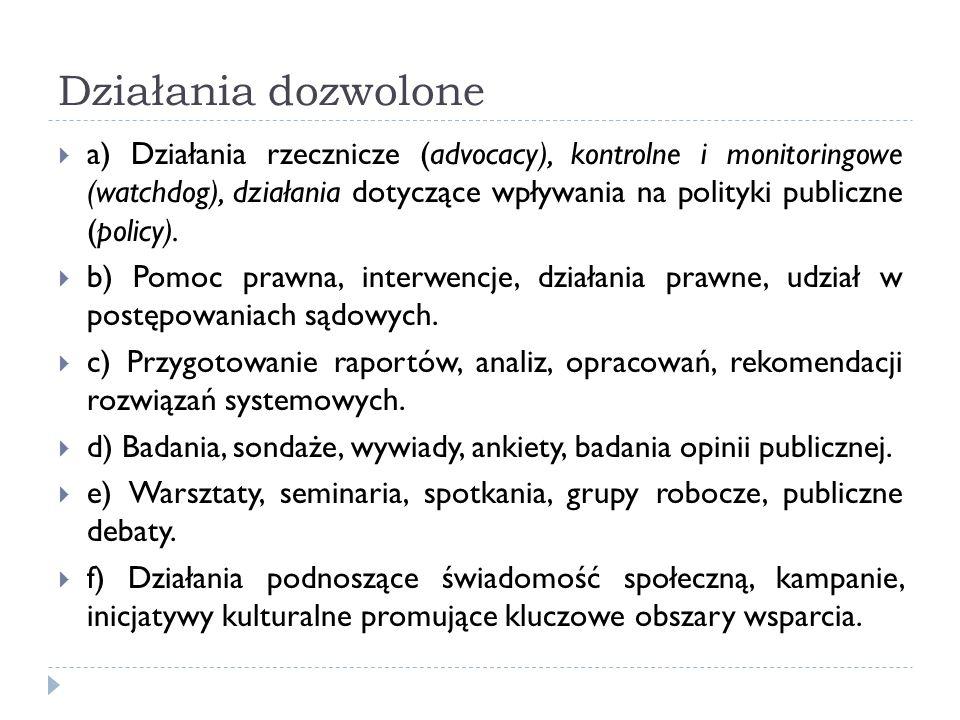 Działania dozwolone a) Działania rzecznicze (advocacy), kontrolne i monitoringowe (watchdog), działania dotyczące wpływania na polityki publiczne (pol