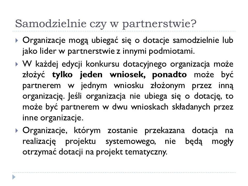 Samodzielnie czy w partnerstwie? Organizacje mogą ubiegać się o dotacje samodzielnie lub jako lider w partnerstwie z innymi podmiotami. W każdej edycj