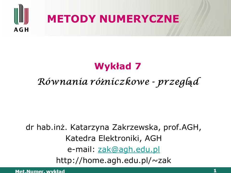 Met.Numer. wykład 1 METODY NUMERYCZNE dr hab.inż. Katarzyna Zakrzewska, prof.AGH, Katedra Elektroniki, AGH e-mail: zak@agh.edu.plzak@agh.edu.pl http:/