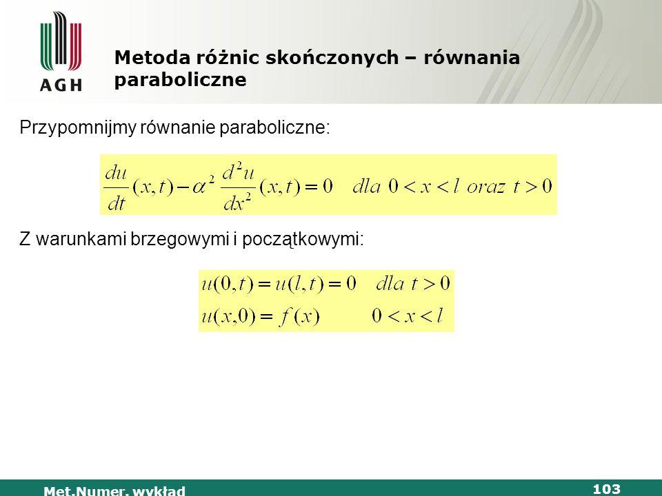 Met.Numer. wykład 103 Metoda różnic skończonych – równania paraboliczne Przypomnijmy równanie paraboliczne: Z warunkami brzegowymi i początkowymi: