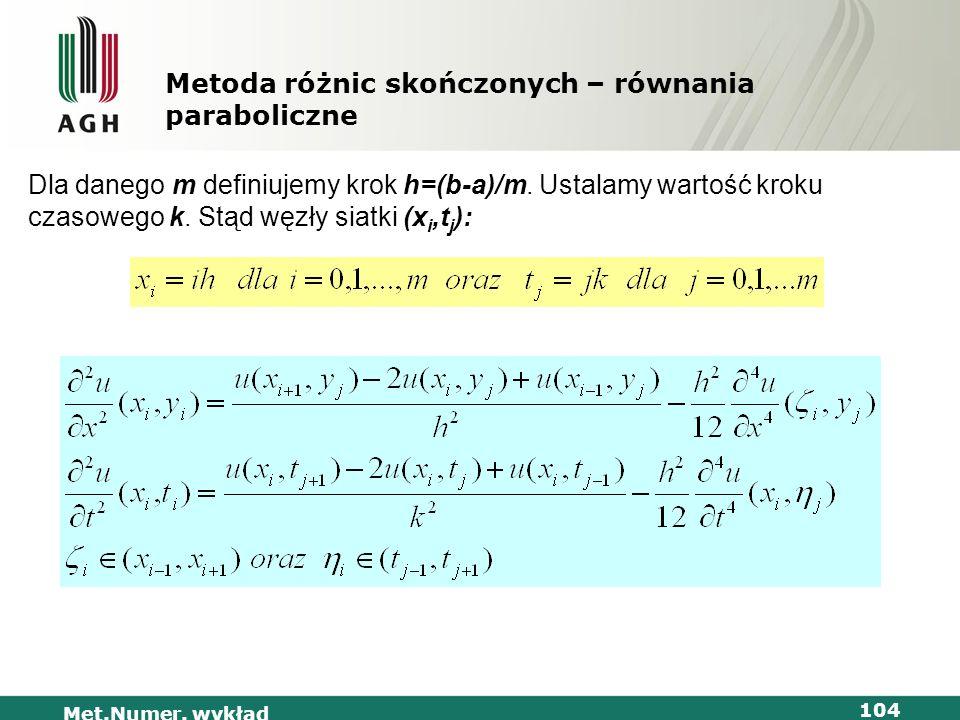 Met.Numer. wykład 104 Metoda różnic skończonych – równania paraboliczne Dla danego m definiujemy krok h=(b-a)/m. Ustalamy wartość kroku czasowego k. S