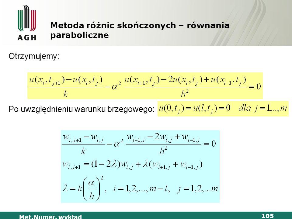 Met.Numer. wykład 105 Metoda różnic skończonych – równania paraboliczne Otrzymujemy: Po uwzględnieniu warunku brzegowego: