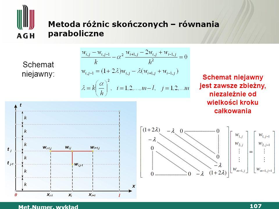 Met.Numer. wykład 107 Metoda różnic skończonych – równania paraboliczne Schemat niejawny: Schemat niejawny jest zawsze zbieżny, niezależnie od wielkoś
