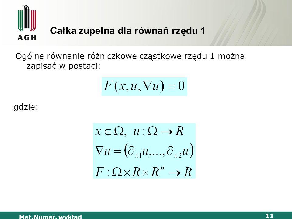 Met.Numer. wykład 11 Całka zupełna dla równań rzędu 1 Ogólne równanie różniczkowe cząstkowe rzędu 1 można zapisać w postaci: gdzie: