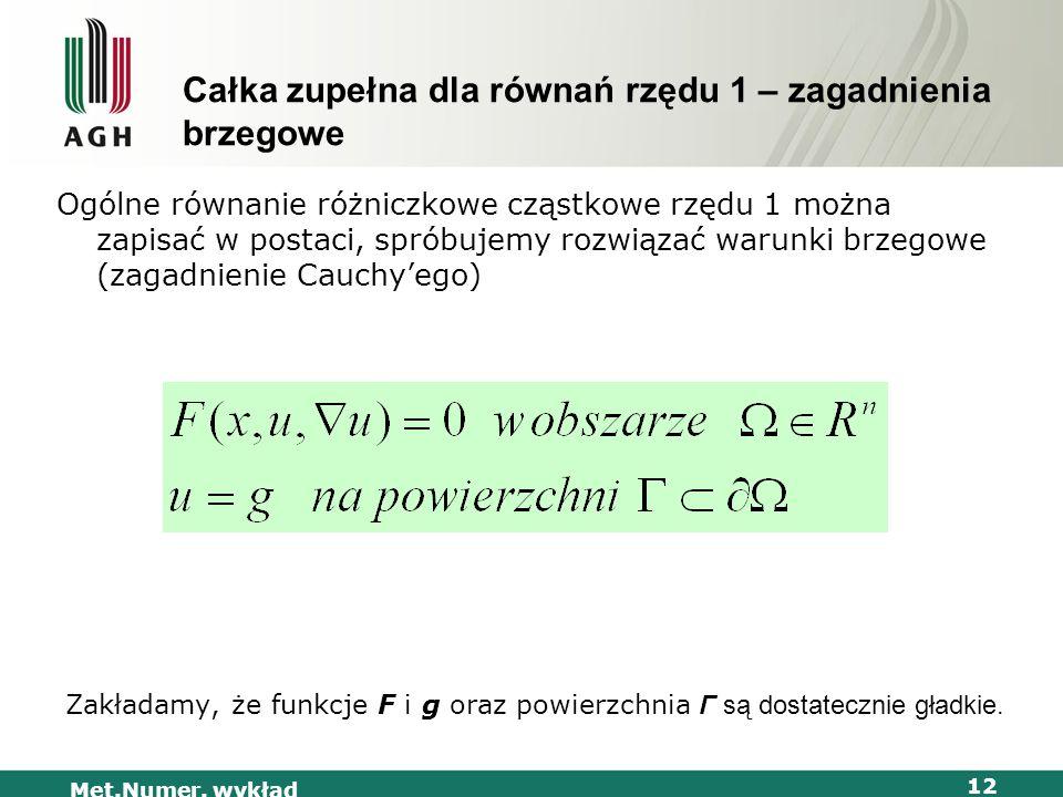 Met.Numer. wykład 12 Całka zupełna dla równań rzędu 1 – zagadnienia brzegowe Ogólne równanie różniczkowe cząstkowe rzędu 1 można zapisać w postaci, sp