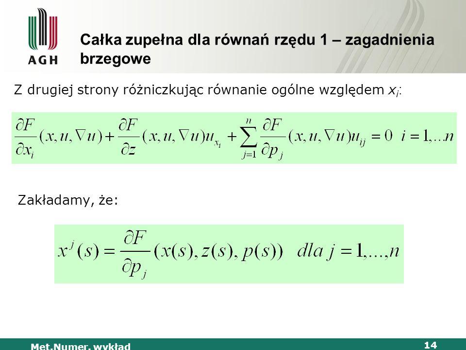 Met.Numer. wykład 14 Całka zupełna dla równań rzędu 1 – zagadnienia brzegowe Z drugiej strony różniczkując równanie ogólne względem x i : Zakładamy, ż