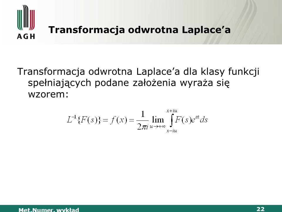 Met.Numer. wykład 22 Transformacja odwrotna Laplacea Transformacja odwrotna Laplacea dla klasy funkcji spełniających podane założenia wyraża się wzore