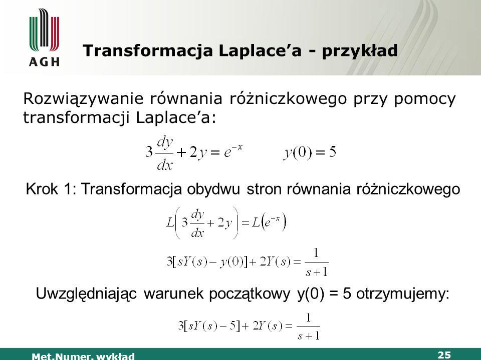 Met.Numer. wykład 25 Transformacja Laplacea - przykład Rozwiązywanie równania różniczkowego przy pomocy transformacji Laplacea: Krok 1: Transformacja