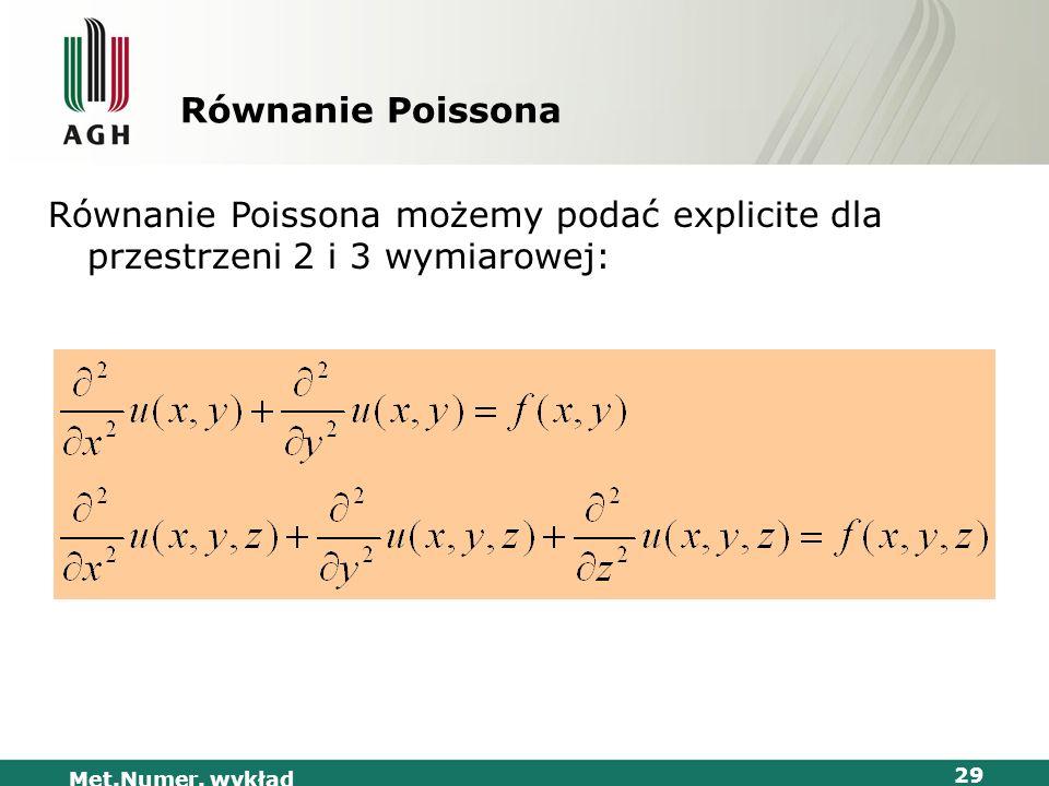 Met.Numer. wykład 29 Równanie Poissona Równanie Poissona możemy podać explicite dla przestrzeni 2 i 3 wymiarowej: