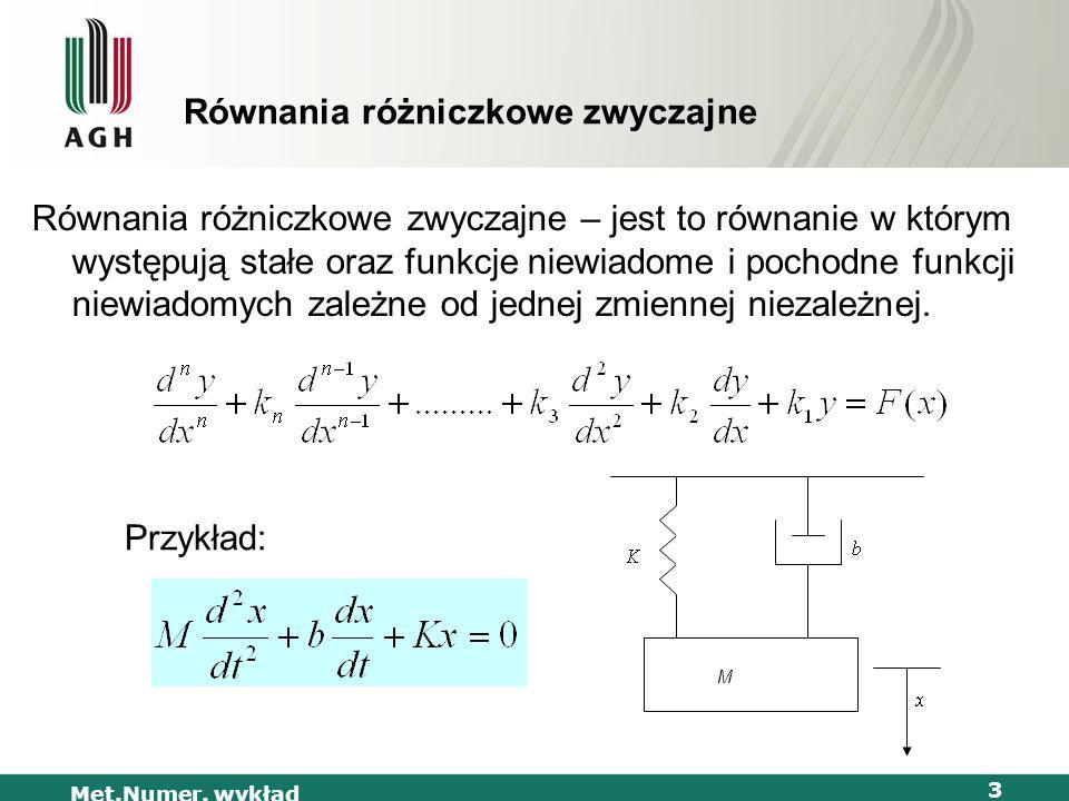 Met.Numer. wykład 3 Równania różniczkowe zwyczajne Równania różniczkowe zwyczajne – jest to równanie w którym występują stałe oraz funkcje niewiadome