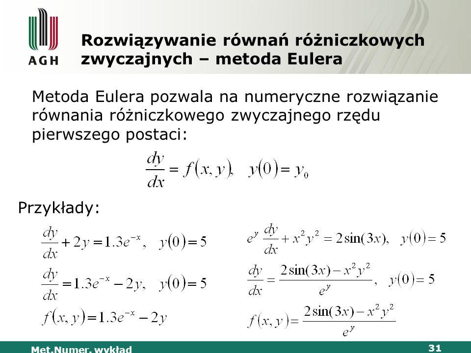 Met.Numer. wykład 31 Rozwiązywanie równań różniczkowych zwyczajnych – metoda Eulera Metoda Eulera pozwala na numeryczne rozwiązanie równania różniczko