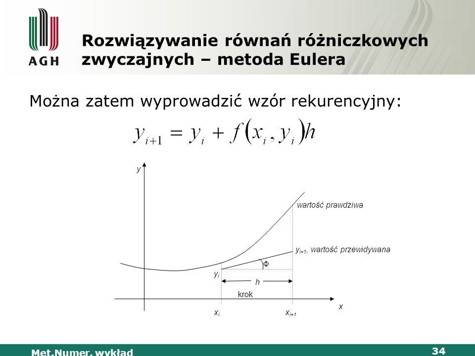 Met.Numer. wykład 34 Rozwiązywanie równań różniczkowych zwyczajnych – metoda Eulera Można zatem wyprowadzić wzór rekurencyjny: Φ krok h wartość prawdz