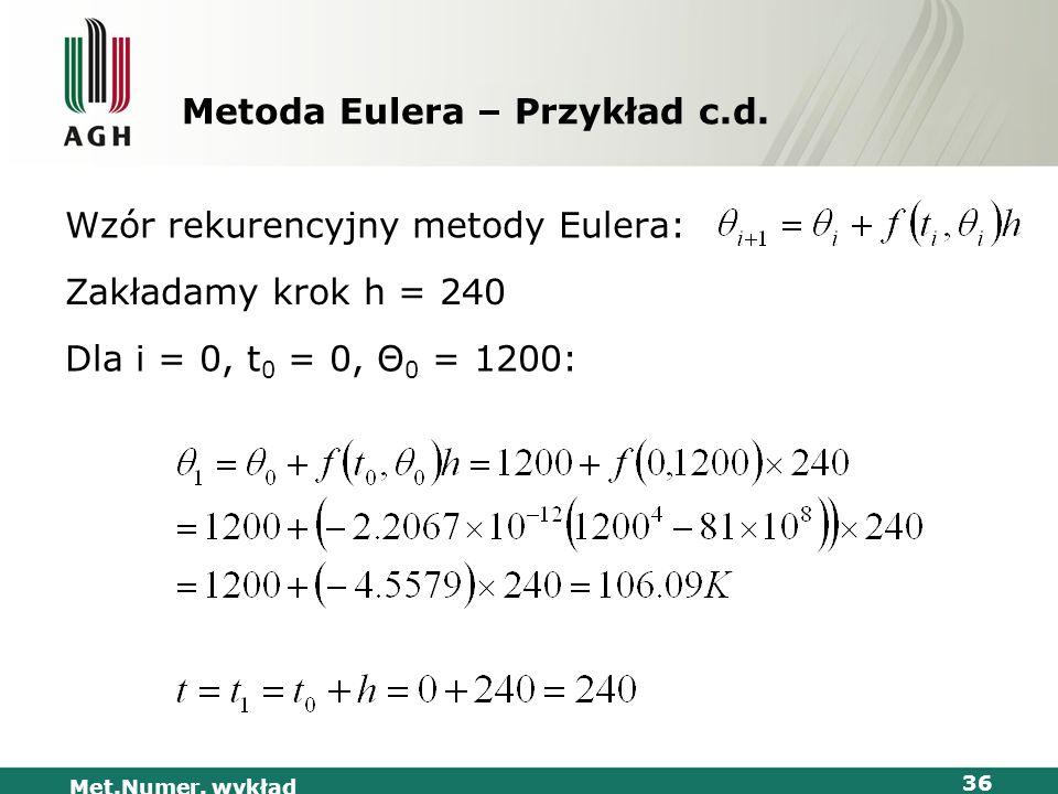 Met.Numer. wykład 36 Metoda Eulera – Przykład c.d. Wzór rekurencyjny metody Eulera: Dla i = 0, t 0 = 0, Θ 0 = 1200: Zakładamy krok h = 240