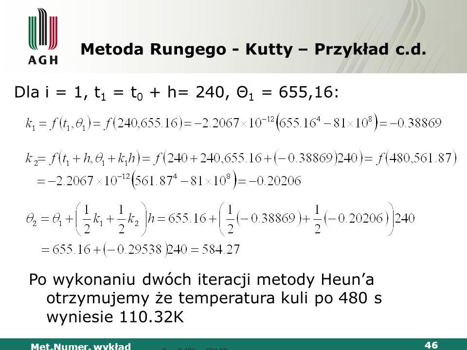 Met.Numer. wykład 46 Metoda Rungego - Kutty – Przykład c.d. Dla i = 1, t 1 = t 0 + h= 240, Θ 1 = 655,16: K Po wykonaniu dwóch iteracji metody Heuna ot
