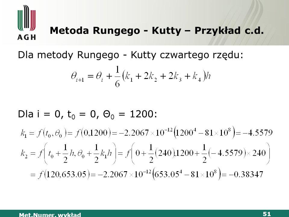 Met.Numer. wykład 51 Metoda Rungego - Kutty – Przykład c.d. Dla metody Rungego - Kutty czwartego rzędu: Dla i = 0, t 0 = 0, Θ 0 = 1200: