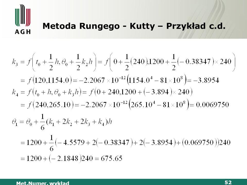 Met.Numer. wykład 52 Metoda Rungego - Kutty – Przykład c.d.